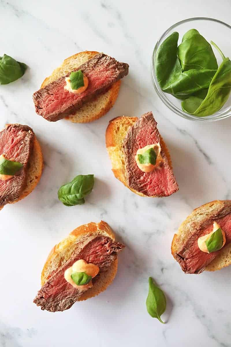 Beef Crostini with Mascarpone Sauce